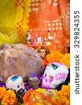 sugar skulls and dead bread  | Shutterstock . vector #329824355