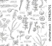 seamless pattern with herbs and ... | Shutterstock .eps vector #329826701