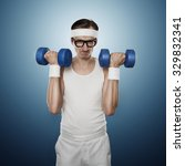 funny sport nerd lifting... | Shutterstock . vector #329832341
