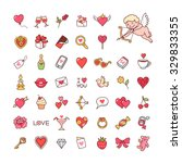 set of cute icons for valentine'...   Shutterstock .eps vector #329833355