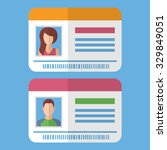 id cards template with man and... | Shutterstock .eps vector #329849051