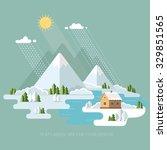 winter landscape mountains snow ... | Shutterstock .eps vector #329851565