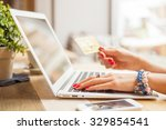 woman with computer shopping... | Shutterstock . vector #329854541