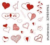hand drawn hearts in vector.... | Shutterstock .eps vector #329854961
