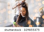 beauty  hairstyle and people... | Shutterstock . vector #329855375