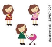 pregnant woman and women with... | Shutterstock .eps vector #329874209