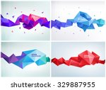 Vector set of faceted 3d crystal colorful shapes, banners. Faceted 3d shapes, crystal banners, horizontal orientation | Shutterstock vector #329887955