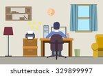freelancer man working on his... | Shutterstock .eps vector #329899997