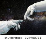 astronaut hand and robotic hand ... | Shutterstock . vector #329900711