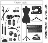 set of monochrome tailor s... | Shutterstock .eps vector #329903285