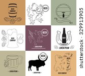 set of beer logo templates and... | Shutterstock .eps vector #329913905