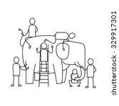 men touching elephant. | Shutterstock .eps vector #329917301