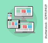 responsive web design  flat... | Shutterstock .eps vector #329919419