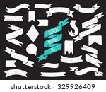 set of cute hand drawn banners. ... | Shutterstock .eps vector #329926409
