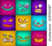 halloween monsters set  hand... | Shutterstock .eps vector #329932487