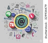mail collage with web icons... | Shutterstock .eps vector #329934479