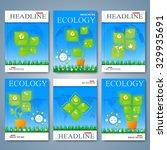 modern vector set of brochures  ... | Shutterstock .eps vector #329935691