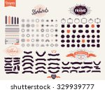 Stock vector  premium design elements great for retro vintage logos starbursts frames and ribbons 329939777