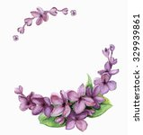 watercolor lilac set of flowers.... | Shutterstock . vector #329939861