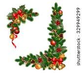 christmas decorations with fir... | Shutterstock .eps vector #329949299