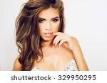 beautiful model with elegant... | Shutterstock . vector #329950295