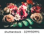 Stock photo close up colorful bunch of beautiful flowers vintage or retro tone 329950991
