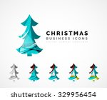 set of abstract christmas tree...   Shutterstock .eps vector #329956454