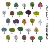 set of various trees   vector... | Shutterstock .eps vector #329956964