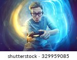 nerdy gamer with controller | Shutterstock . vector #329959085
