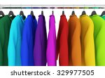colorful shirts with hangers... | Shutterstock . vector #329977505