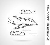 flying military airplane.... | Shutterstock .eps vector #330007481