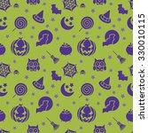 halloween pumpkin  bat and... | Shutterstock .eps vector #330010115