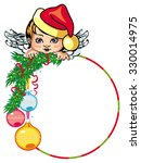 holiday round frame with little ... | Shutterstock .eps vector #330014975