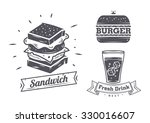 burger  sandwich and hotdog... | Shutterstock .eps vector #330016607