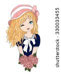 cute girl vector t shirt print... | Shutterstock .eps vector #330033455