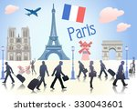 illustration of paris  | Shutterstock .eps vector #330043601