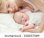 young mother and her baby ... | Shutterstock . vector #330057089