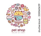 Stock vector flat style colorful illustration of funny muzzle of cat and dog goods for animals vector icons 330060659
