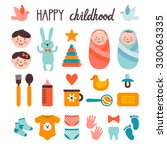 set of cute childish elements.... | Shutterstock .eps vector #330063335