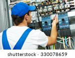 electrician worker checking... | Shutterstock . vector #330078659