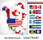 north america map with flags... | Shutterstock .eps vector #330078989