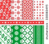 christmas seamless patterns | Shutterstock .eps vector #330083495
