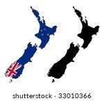 vector map and flag of new... | Shutterstock .eps vector #33010366