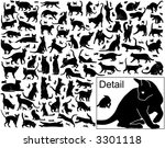 Stock vector collection of vector black cats in various positions with basic outlines included 3301118