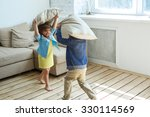 two happy children is fighting... | Shutterstock . vector #330114569