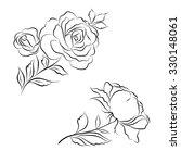 set of black and white roses... | Shutterstock .eps vector #330148061