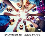 celebration champagne looking... | Shutterstock . vector #330159791