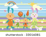 family of rabbits walks | Shutterstock .eps vector #33016081