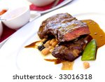 sirloin strip steak with green... | Shutterstock . vector #33016318
