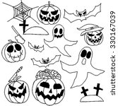 collection of halloween hand... | Shutterstock .eps vector #330167039